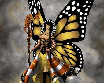 The Monarch. An 8x10 matted to an 11x14 limited edition print. A proud butterfly fairy.