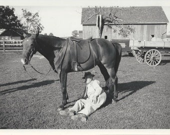 Operator Error - Vintage 1940s Foolhardy Equestrian and Horse Photograph