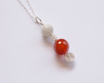 Moonstone and Carnelian Fertility Pendant Sterling Silver Healing Pregnancy IVF