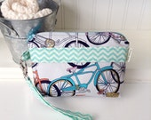 Bicycle Print Cotton Fabric Wristlet - Grey and Blue Chevron Wristlet - Bicycle Print Wristlet - Fabric Gadget Case