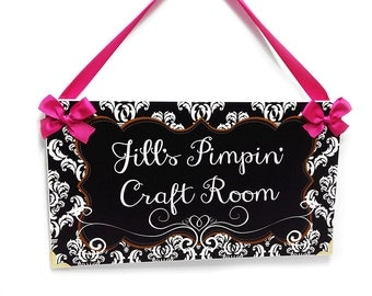 craft studio personalized name sign shabby damask white black crafting room chic gift - P2079