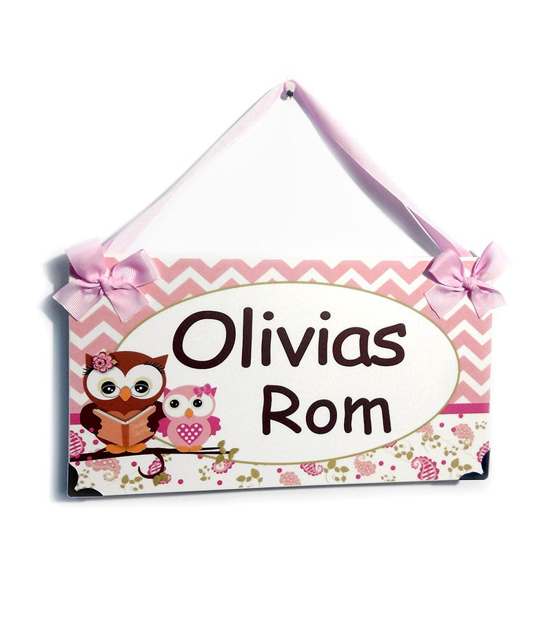 Personalized Name Door Signs For Girls Bedroom Chevron