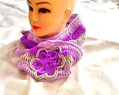 SALE -----GYPSY BOHO scarf -crochet flower Infiniti scarf -winter scarf -knitted scarf