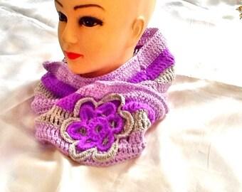 SALE -----GYPSY BOHO scarf -crochet flower Infiniti scarf -winter scarf -knitted scarf