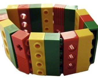 Rasta Rastafari Reggae Green Yellow Red bracelet - made from LEGO (R) bricks on stretchy cords