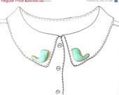 SALE Birds Collar Clips Collar Brooch Collar Pin Mint Birds Fashion Accessories