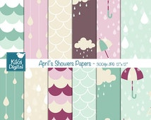 April Showers Seamless Papers - Seamless Pattens - card design, invitations, scrapbook, paper crafts, party decor - Instant Download