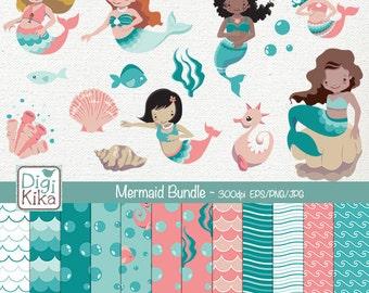 Mermaid Digital Bundle - Clipart and Paper Pack - scrapbooking , invitations, photo album, paper crafts - Instant Download