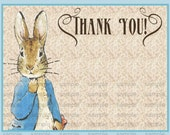 Vintage Peter Rabbit Beatrix Potter Baby Shower or  Vintage Nursery Book thank you card diy print file OR  Printed is available