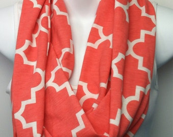 Light Coral and white Moroccan print infinity scarf
