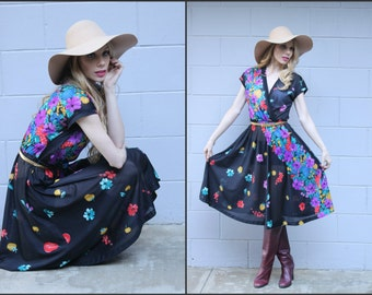 Vtg Vintage 70s Festival Boho hippie dress floral flirty XS S