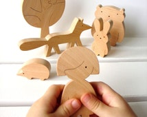 Wooden toy - Girl and forest animals - Woodland animals - Eco friendly wooden toys - Toys for toddlers - Baby wooden toy