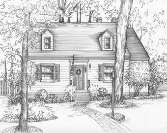 Custom architectural illustration in ink of your home or cottage, house portrait, ink sketch, house drawing from photo