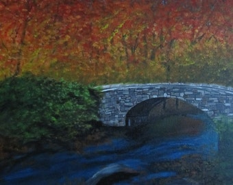 Stone Bridge in the Mountains in the Fall