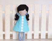 Handmade Cloth Doll Rag Doll Fashion Doll Soft Dress Up Doll Polka dot Back cut out sleeveless Dress blue-white striped tights Black hair