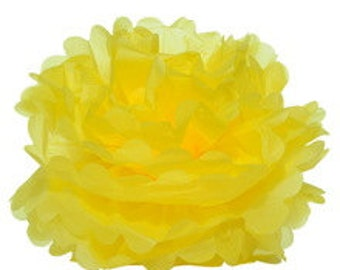 "18"" Lemon Yellow Tissue Paper Pom Poms- Extra Large Paper Flower Pom- Wedding Decoartion-Baby Shower- Bridal Decor- Hanging Room Paper Pom"