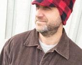 Men's Fleece Hat - Men's Buffalo Plaid Winter Fleece Hat - Teen Boy Winter Hat - Warm Hat for Guys - Outdoor Accessories for Men