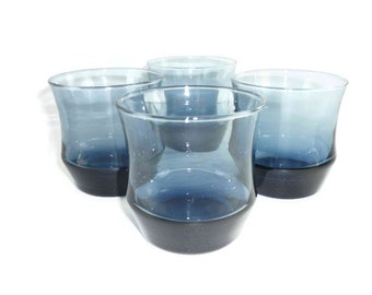 Libbey Apollo Dusky Blue Tumblers or Rocks Glasses Set of 4 Mid Century Mod