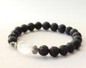 Gemstone Beaded Bracelet - Crystal Quartz, Silver Pyrite & Black Lava Stretch Bracelet