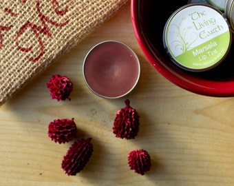 Marsala Lip Tint, Tinted Lip Balm, Sheer Red Wine Coverage, Strawberry Mint Flavor, .25oz