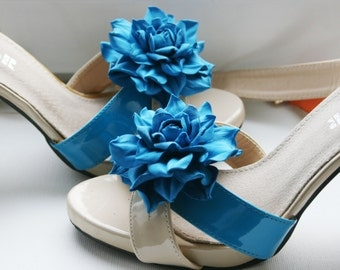 Turquoise Leather Flower Shoe Clips