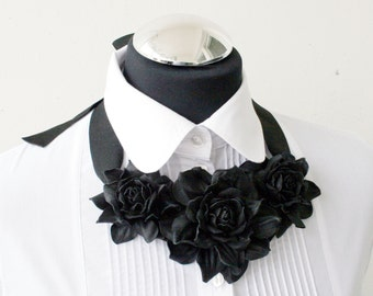 Black leather floral bib necklace - Made to Order
