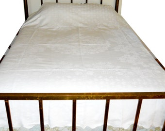 Antique 19thC French Country Marseille White on White Floral Bedspread 4 Poster Bed Coverlet Cotton Vintage 1870s Bedspread Farmhouse Spread