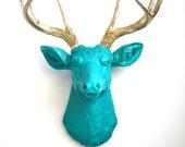TEAL w/ Gold Antlers Faux Taxidermy Deer Head wall mount Deerman the Deer Head in TEAL with Gold antlers