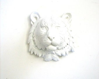 Small Faux Taxidermy Tiger Animal Head wall mount wall hanging home decor in white Safari Animal kids room nursery home office decor