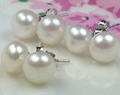3-Pairs AAA Genuine Freshwater Pearl Earrings Sterling Silver Stud Solitaire White Pearl Earring Wedding Flower Girl Bridal Bridesmaid Gift