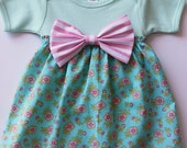 Darling Clementine Onesie Dress with Bow | SIZE 12-18 months