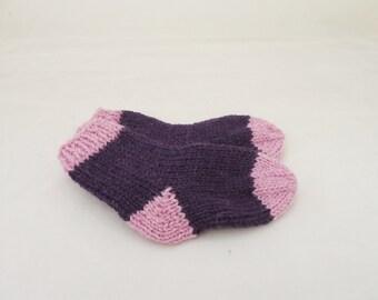 Baby Socks, Hand Knit Boy/Girl socks, Baby socks in Purple and Pink, 0-3 months, Warm Socks for Babies, UK Seller
