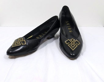 SELBY Black Leather Flats Size 7.5 or 7-1/2 B / AA