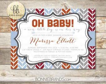 Baby Shower Invitation // Arrows Oh Baby! Theme // Navy, Rust, Light Blue // Baby Boy Shower