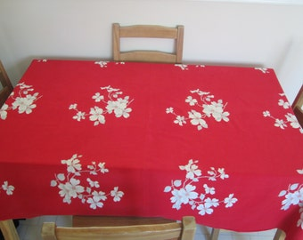 Vintage Wilendur Dogwood Blossom Red Tablecloth