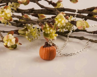 Miniature Clay Pumpkin Charm Necklace