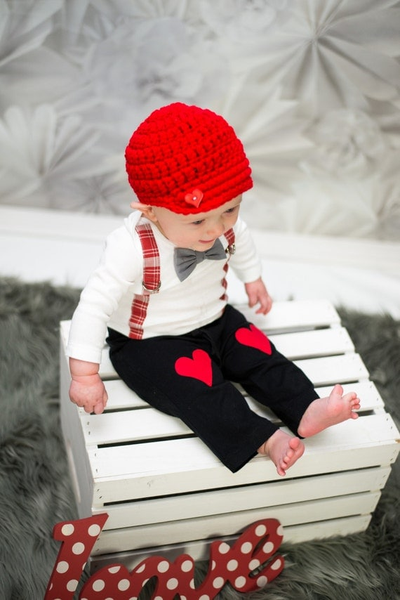 Items Similar To Valentines Day Baby Boy Bow Tie Suspender