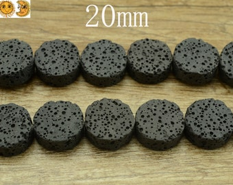 15 inch strand of Lava matte coin beads 20mm