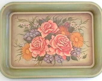 Vintage Victorain Style Rose Serving Tray (Metal/Tin)