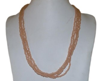 Matte Peach Multi-Strand Seed Beads Necklace,Nepal (Limited Edition)