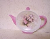 Porcelain Pink Rose Caddy, Rose Floral Tea Caddy, Tea Bag Holder, Teapot Shaped Tea Caddy, Ring Dish,Tea, Tea Pot Shaped Dish, OFG Team