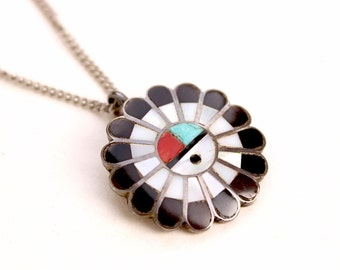 1950s Zuni Sterling Sunface inlay pendant necklace with coral, turquoise, mother of pearl,(MOP) and black onyx