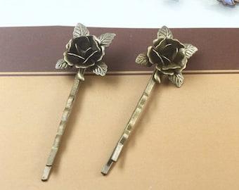 5 pcs raw Brass  plating antique bronze  flower Filigree hair pin  pendant finding