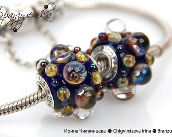 Galaxy - 1 pc European big Beads lampwork blue shining transparent - Charm with a large hole - 925 silver core
