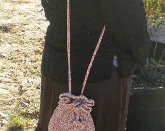 Boho Chic Crochet Sling Tote Bag Boho Gather Bag 100% Cotton flower Sling Bag in Maroon and Ecru small
