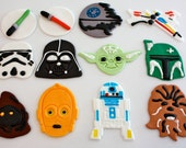 STAR WARS - Fondant Cupcake, and Cookie Toppers - 1 Dozen