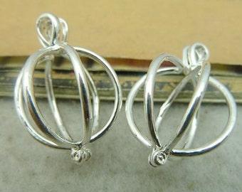 2PCS shiny silver 19x19x28mm wishing box charm pendant- W3618