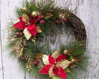 Christmas Wreath, Holiday Wreath, Natural Christmas, Winter Wreath, Elegant Christmas, Poinsettia