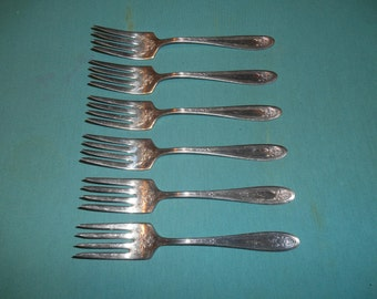 "Six (6), 6"" Silver Plated Salad Forks, from Simeon L. & George H. Rogers Co. / Oneida, in the Kenilworth 1930 Pattern."