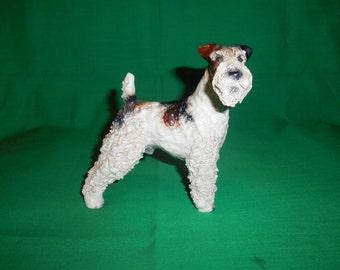 One (1), Vintage, Standing, Wire Hair Schnauzer Dog Figurine.